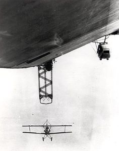 Vought UO-1 docking with USS Los Angeles airship trapeze.