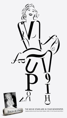 Celebrity FontArts - Some interesting portraits of celebrities (Marilyn Monroe) constructed entirely from fonts and glyphs (well, except the facial features).