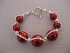 Red Glass Swarovski Pearls Bracelet Sterling Handmade, $22.99