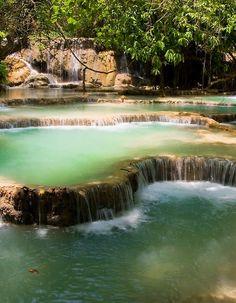 Tat Kuang Si Waterfalls south of Luang Prabang in Laos (by ¡kuba).