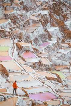 Beautifully coloured salt ponds are found near Maras, Peru. Peru Travel Destinations Honeymoon Backpack Backpacking Vacation Wanderlust Budget Off the Beaten Path South America Machu Picchu, Travel Photographie, Peru Travel, Portugal Travel, Lisbon Portugal, Beautiful Places To Travel, Amazing Places, South America Travel, Travel Aesthetic