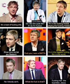 (gif set) Martin F-----g Freeman.  Fuck, could he get any more awesome?  Seriously.  I fucking love this.
