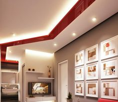 Elegant Red Decoration with Best Lighting for Living Room Wall Decor Art Ideas