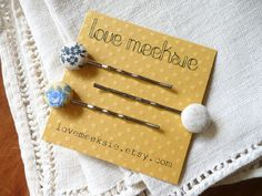 fabric button bobby pins natural floral set of 3 by lovemeeksie