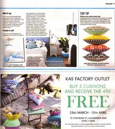 KAS Advertisement – Page 14 & 15 Dakini cushions – Page 15 COVER ATTACHED