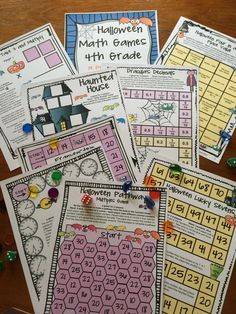 Halloween board games for 4th grade from Halloween Math Games Fourth Grade by Games 4 Learning $