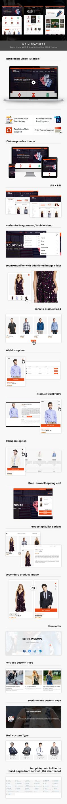 Super Store is WordPress ecommerce theme based on WooCommerce plugin. It is suitable for fashion, watches, shoes, sports, auto, jewelry and accessories store. It is also multipurpose theme which can be used for any kind of online store. Super Store WooCommerce theme is looking good with it's clean and fresh design. All sub pages are customized.