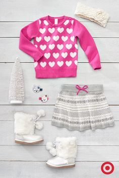 Fall in love with this cozy heart sweater, gathered Fair Isle sweater skirt and faux-fur boots for your baby girl. These Nordic-inspired designs are an adorable trend for tots of all ages this season.