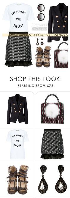 """""""Trust your fries"""" by pensivepeacock ❤ liked on Polyvore featuring TIBI, Balmain, Les Petits Joueurs, Paul & Joe Sister, Carven, Yves Saint Laurent and Sunday Somewhere"""