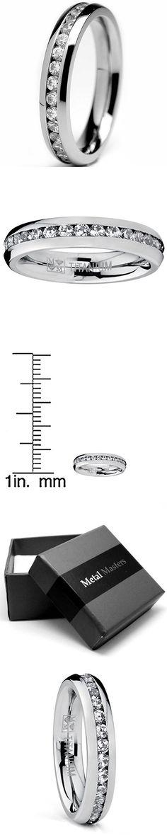 4MM High Polish Ladies Eternity Titanium Ring Wedding Band with CZ Size 7