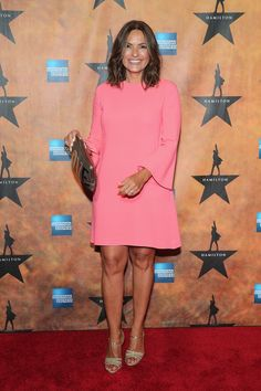 """Mariska Hargitay Photos Photos - Mariska Hargitay attends the """"Hamilton"""" Broadway Opening Night at Pier 60 on August 2015 in New York City. - The 'Hamilton' Broadway Opening Night After Party Mejores Series Tv, Debra Messing, Hamilton Broadway, Ladies Lunch, Cut Clothes, Olivia Benson, Mariska Hargitay, Law And Order, Bell Sleeve Dress"""