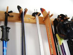 8 ski wall storage rack by WillowHeights on Etsy, $45.00