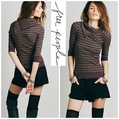 Free People Purple Womens Ana's Stripe Turtleneck Soft, comfortable & stylish turtleneck from Free People!   -Small -Horizontal stripe pattern.  -Turtleneck can be worn buttoned or draped over the neckline.  -Stretchy fit. -Three-quarter length sleeves -Curved-hugging silhouette. -Contrast ribbed trim at neckline, cuffs, and straight hemline. -70% acrylic, 30% wool -Hand wash cold, dry flat. -Imported. Free People Sweaters