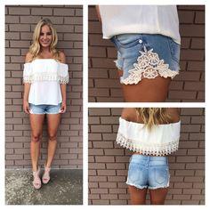 Love & Lace Denim Shorts