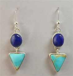 Earrings - Lapis, Turquoise, and Sterling Silver Dangles by Rosella Sandoval (Apache)