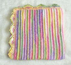 Multi Colored Ribbed Baby Afghan or Blanket