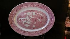 Pink Willow Platter by Homer Laughlin 61 by RubyLaneTreasures