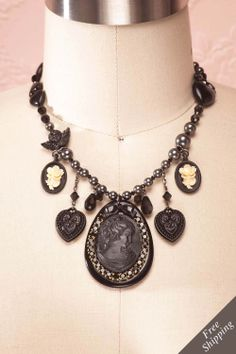 Black Mysteries - Tarina Tarantino massive black dangle cameo necklace