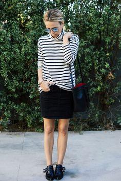 Damsel in Dior | J.Crew Striped Turtleneck Tee; G-Star Raw 3301 Long Mini Skirt; Saint Laurent Baby Sac de Jour; Ariel Gordon Earring; Tabitha Simmons Buckled Flats
