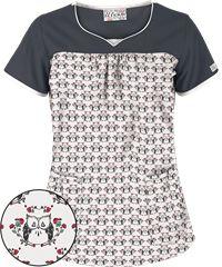 UA Hooty Owl White Print Scrub Top with Sweetheart Neckline