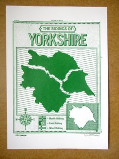 Screen printed Ridings of Yorkshire art print poster by ThingsOnFireShop on Etsy