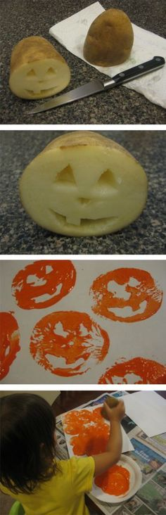 Halloween Crafts for Kids and Toddlers - Potato stamp pumpkins, sensory bug bin, shaving cream ghosts, glitter glue ghosts, and napkin ghosts. Diy Halloween, Theme Halloween, Halloween Party Favors, Halloween Crafts For Kids, Holidays Halloween, Fall Art For Toddlers, Pumpkin Crafts Kids, Halloween Activities For Toddlers, Preschool Halloween