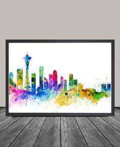 Seattle Skyline Seattle Cityscape Seattle Print by FineArtCenter
