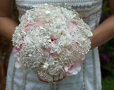 pink and silver wedding bouquet