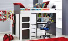 Oxford Single Loft Bed with Workstation - Kids Beds & Suites - Bedroom - Furniture & Beds Cool Bunk Beds, Bunk Beds With Stairs, Kids Bunk Beds, Loft Beds, Ikea Childrens Bedroom, Kids Bedroom, Bedroom Ideas, Baby Bedroom Furniture, Kids Furniture