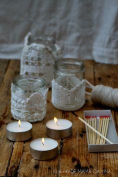 DIY: Cómo hacer un portavelas de crochet y tarros reciclados