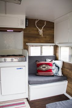 Camper Remodel Ideas 14 Remodeled Campers, Stacked Washer Dryer, Tiny Houses, Kitchen Cabinets, Entryway, Kitchen Cabinetry, Entrance, Small Houses, Appetizer