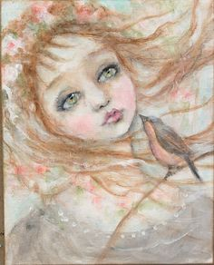 original girl child bird portrait floral primitive by fadedwest,