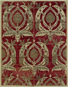 Rectangular Textile Fragment Object Name: Fragment Date: second half 16th century Geography: Turkey, Bursa Culture: Islamic Medium: Silk, metal wrapped thread; cut and voided velvet, brocaded Dimensions: Textile: H. 66 in. (167.6 cm) W. 52 in. (132.1 cm) Mount: H. 70 1/2 in. (179.1cm) W. 56 1/8 in. (142.6 cm) D. 2 in. (5.1 cm) Wt. 89 lbs. (40.4 kg) Classification: Textiles-Woven Credit Line: Rogers Fund, 1917 Accession Number: 17.29.10