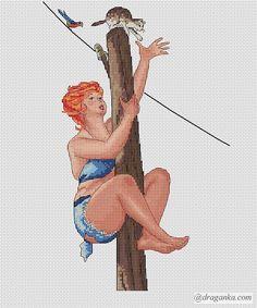 0 point de croix hilda rousse en haut d'un poteau électrique attrapant un chat - cross stitch red haired hilda on top of electric pole catching a cat