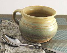 Soup Mug / Soup Bowl - Yellow Salt / Pale Green/  handmade wheel thrown pottery