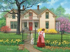Neat and Tidy John Sloane Country Art, Country Life, Cottage Art, Naive Art, Beautiful Paintings, Farm Life, Oeuvre D'art, Kitsch, Home Art