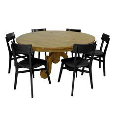 Conjunto Sala de Jantar Fabricado em Madeira Maciça Pinus com 6 Cadeiras - Linha Pierre
