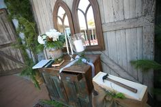Rustic wedding altar made of recliamed furniture. Wedding In The Woods, Farm Wedding, Rustic Wedding, Wedding Reception, Wedding Altars, Receptions, Throw Rugs, Green And Gold, Weddingideas