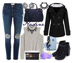 """""""Nadine."""" by ella1122ghost on Polyvore featuring Frame Denim, Burberry, Thierry Mugler, NARS Cosmetics, Eos, women's clothing, women's fashion, women, female and woman"""