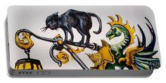 Shop Sign Portable Battery Charger featuring the painting Caru Cu Bere - Antique Shop Sign by Dora Hathazi Mendes #artforsale #artoftheday #printsforsale #dorahathazi #carucubere #bucharest #romania #wroughtiron #shopsign #cat #dragon #portablecharger #gadget #portablebatterycharger #portable