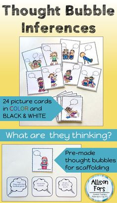 What are they thinking? Practice inferencing, identifying emotions, and conversational skills! Total 48 picture cards with engaging pictures.