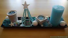 Beton Deko und Himmeli in Adventsschale - türkis Advent, Facebook Sign Up, Ceramics, Christmas, Deco, Ceramica, Pottery, Ceramic Art, Clay Crafts