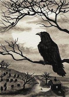Black Cat Society Midnight Walk ArT Prints or by AmyLynBihrle Crow Art, Raven Art, Bird Art, Rabe Tattoo, Arte Obscura, Crows Ravens, Deviant Art, Art Portfolio, Halloween Art