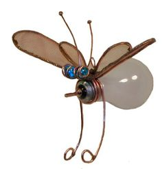 Recycled material critters by Glass and Garden .  lightbulb