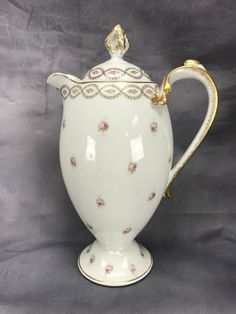 Laviolette Limoges Small Pink Roses Green Gold Trim Coffee Chocolate Pot MF&Co