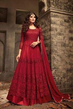 Dress salwar kameez - Wardrobe stunning bollywood stylish floor length gown on sale Indian Gowns Dresses, Pakistani Dresses, Girls Dresses, Indian Designer Outfits, Designer Gowns, Net Gowns, Floor Length Gown, Floor Length Anarkali, Indian Party Wear