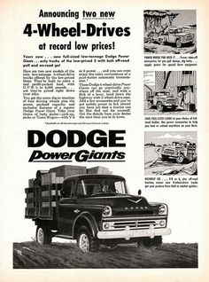 ✿1957 Dodge 4-Wheel-Drive Stake Truck✿ Old Dodge Trucks, Dodge Pickup, Ram Trucks, Cool Trucks, Pickup Trucks, Old American Cars, American Motors, Little Truck, Dodge Power Wagon