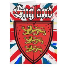 England Three Lions Wooden Shield Card