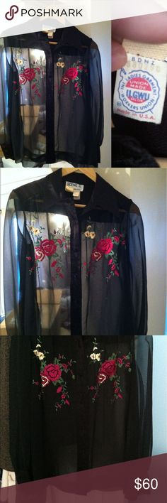 Scene II by Jonathan Logan vintage sheer blouse 10 Gorgeous sheer black blouse with stunning flower 🌹embroidery in excellent vintage condition! ILGWU tag - based on my research, this type was used from 1974-1995. My best guess for this blouse would be late 70s/early 80s based on the tags shown in the photos. This beauty is labeled a size 10, measurements (taken flat) are: 20.5 in pit to pit, 22 in waist, 24in long. If it fit my bust I'd be keeping it! Someone definitely needs to rock this…