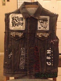 Denim studded hardcore punk vest by STUDDEDnSTITCHED on Etsy, $45.00